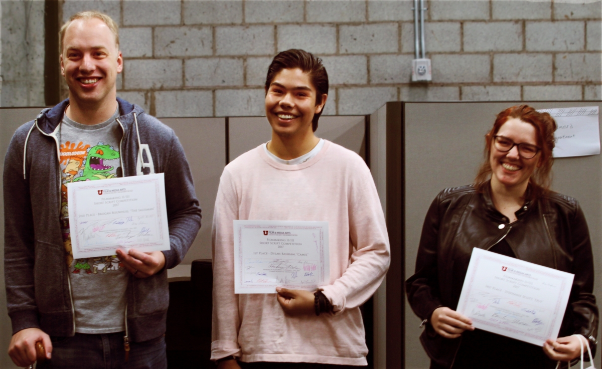 "Winners of the 2017 competition from left to right: Brogan Luke Bouwhuis for ""The Salesman"" (2nd place), Dylan Bassham for ""Camel"" (1st place), and Stephanie Scott for ""Out"" (3rd place)."
